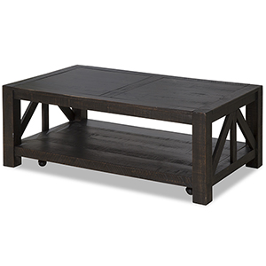 Easton Rustic Rectangular Coffee Table with Casters in Dark Chocolate