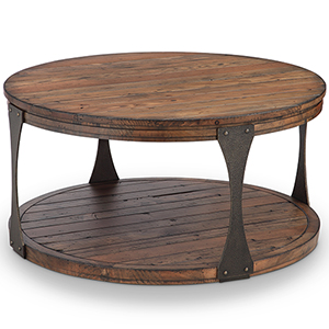 Montgomery Industrial Reclaimed Wood Round Coffee Table with Casters in Bourbon finish