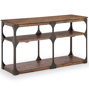 Montgomery Industrial Reclaimed Wood Rectangular Entryway Table in Bourbon finish