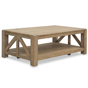 Griffith Weathered Toffee Rectangular Coffee Table with Casters