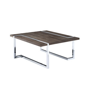 Kieran Square Cocktail Table in Charcoal and Chrome