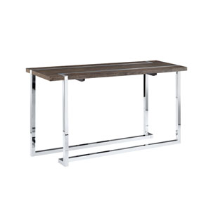Kieran Rectangular Sofa Table in Charcoal and Chrome