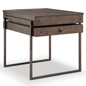 Kirkwood Rustic Dark Whiskey Reclaimed Wood Rectangular End Table