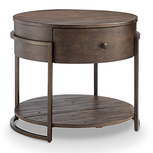 Kirkwood Rustic Dark Whiskey Reclaimed Wood Round Accent Table