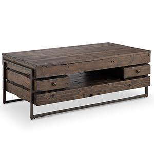 Kirkwood Rustic Dark Whiskey Reclaimed Wood Rectangular Coffee Table