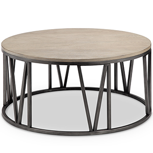 Avalon Modern Round Coffee Table In Weathered White Oak
