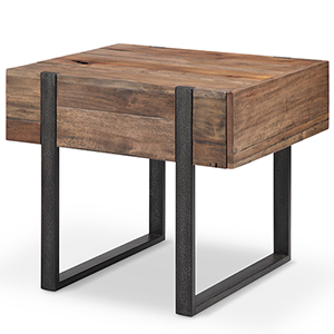 Prescott Modern Reclaimed Wood Rectangular End Table in Rustic Honey