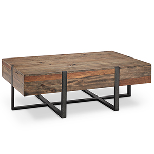 Prescott Modern Reclaimed Wood Rectangular Coffee Table in Rustic Honey