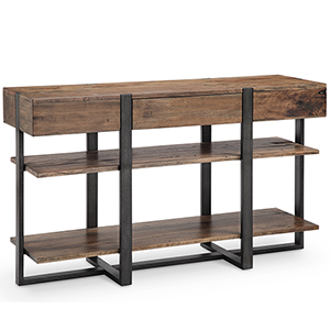 Prescott Modern Reclaimed Wood Rectangular Console Table in Rustic Honey