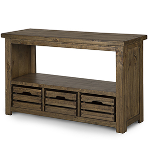 Stratton Rustic Warm Nutmeg Rectangular Entryway Table with Storage