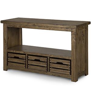 Stratton Rustic Warm Nutmeg Rectangular Entryway Table with Storage