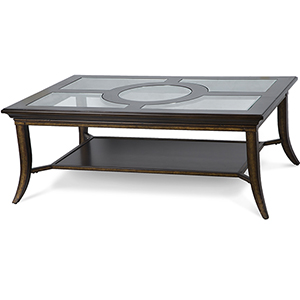 Parsons Transitional Cognac and Antique bronze Glass Top Coffee Table