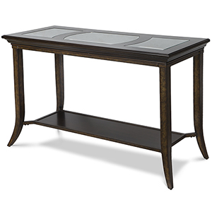 Parsons Transitional Cognac and Antique Bronze Glass Top Sofa Table