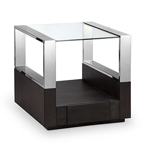 Revere Contemporary Graphite Glass Top End Table with Storage