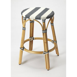 Butler Tobias Blue and White Rattan Counter Stool