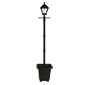 Baytown Black LED Solar Lamp Post with Planter