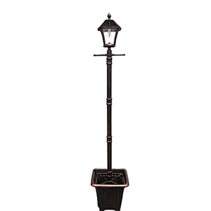 Baytown Black 15-Inch LED Solar Lamp Post with Planter