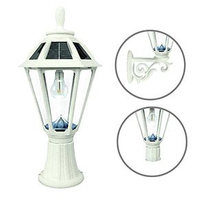 Polaris White LED Solar Post Lamp
