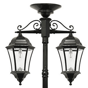 Victorian Black Two-Light LED Solar Lamp Post