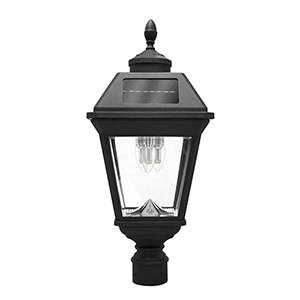 Imperial Black Three-Light LED Solar Post Lamp
