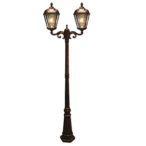 Royal Brushed Bronze Two-Light LED Solar Lamp Post