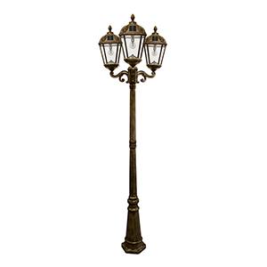 Royal Weathered Bronze Three-Light LED Solar Lamp Post