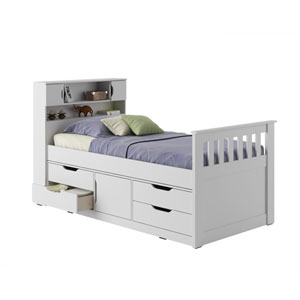 Madison Snow White Twin/Single Captains Bed