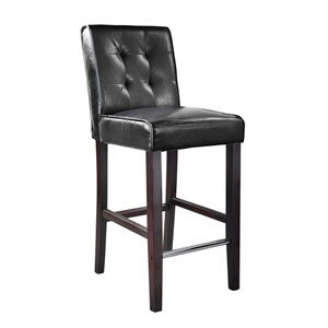 Antonio Bar Height Barstool in Black Bonded Leather