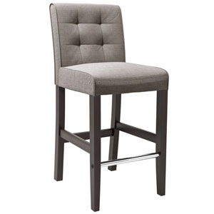 Antonio Bar Height Barstool in Grey Tweed Fabric
