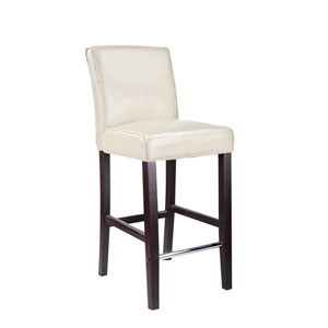 Antonio Bar Height Barstool in White Bonded Leather