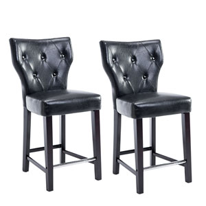 Kings Counter Height Barstool in Black Bonded Leather, Set of 2