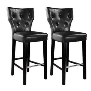 Kings Bar Height Barstool in Black Bonded Leather, Set of 2