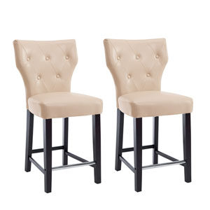 Kings Counter Height Barstool in Cream Bonded Leather, Set of 2