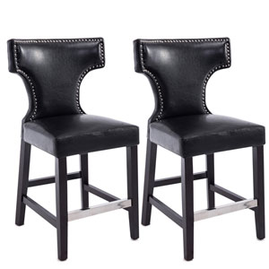Kings Counter Height Barstool in Black with Metal Studs, Set of 2