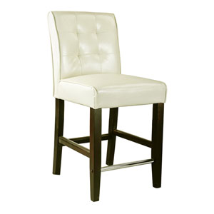 Antonio Cream White Bonded Leather Counter Height Barstool