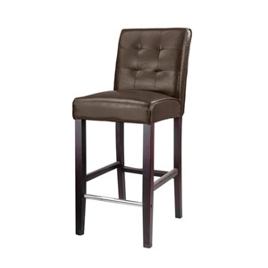 Antonio Dark Brown Bonder Leather Bar Height Barstool
