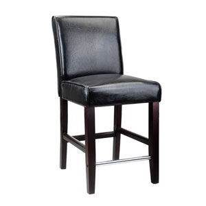 Antonio Black Bonded Leather Counter Height Barstool