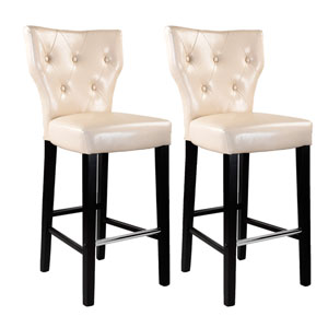Kings Cream Bonded Leather Bar Height Barstool, Set of 2