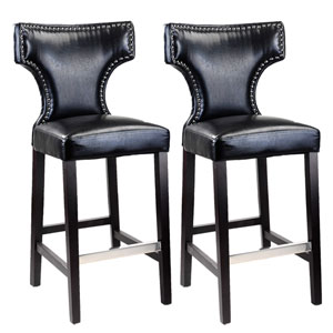 Kings Black with Metal Studs Bar Height Barstool, Set of 2