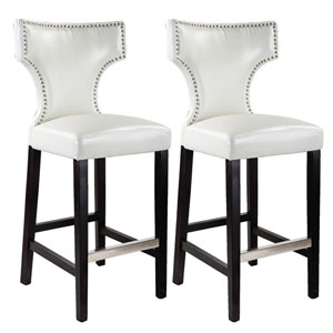 Kings White with Metal Studs Bar Height Barstool, Set of 2