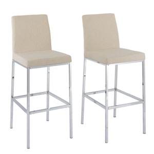 Huntington Beige Fabric Bar Height Stools with Chrome Legs, Set of 2