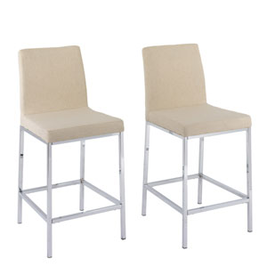 Huntington Beige Fabric Counter Height Bar Stools with Chrome Legs, Set of 2