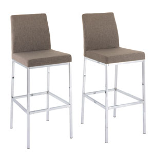 Huntington Brown Fabric Bar Height Stools with Chrome Legs, Set of 2