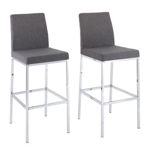 Huntington Grey Fabric Bar Height Stools with Chrome Legs, Set of 2