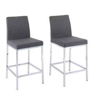 Huntington Grey Fabric Counter Height Bar Stools with Chrome Legs, Set of 2