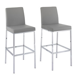 Huntington Grey Leatherette Bar Height Stools with Chrome Legs, Set of 2