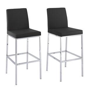 Huntington Black Leatherette Bar Height Stools with Chrome Legs, Set of 2