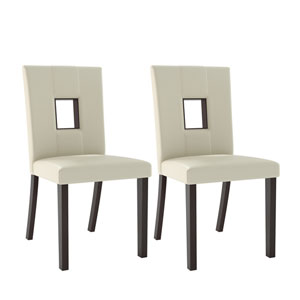 Bistro White Leatherette Dining Chairs, Set of 2