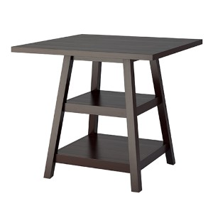 Bistro Cappuccino Counter Height Dining Table with Shelf
