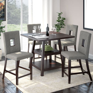 Bistro Cappuccino and Pewter Grey Counter Height Five-Piece Dining Set